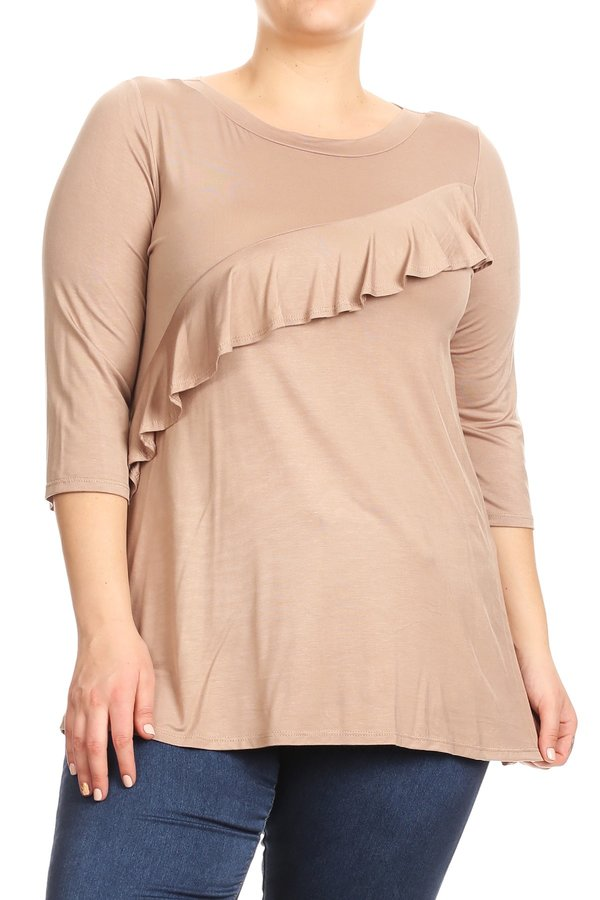 Women's Plus Size Trendy Style Ruffle Knit Top