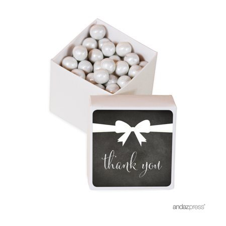 Square Section Bow - Chalkboard Square Party Favor Boxes, Thank You with Bow, 20-Pack