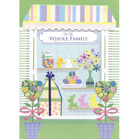 Designer Greetings Pastel Die Cut Awning Whole Family Easter Card