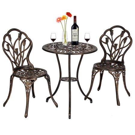 Zimtown 3 Piece Patio Outdoor Patio Furniture Tulip Design Setting Cast Bistro Set ()