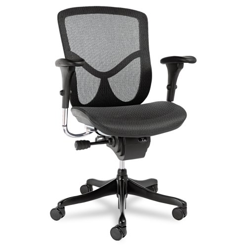 Alera EQ Series Ergonomic Multifunction Mid-Back Mesh Chair, Black Base by