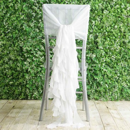 Pleasing Balsacircle Premium Curly Chiffon Chair Cover Cap With Sashes Wedding Party Ceremony Reception Decorations Cheap Supplies Ibusinesslaw Wood Chair Design Ideas Ibusinesslaworg