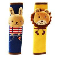 Reactionnx 2 Packs of Bunny and Lion Children Kids Baby Strap Soft Headrest Neck Support Shoulder Pad Seat Belt Cover Cushion for Car