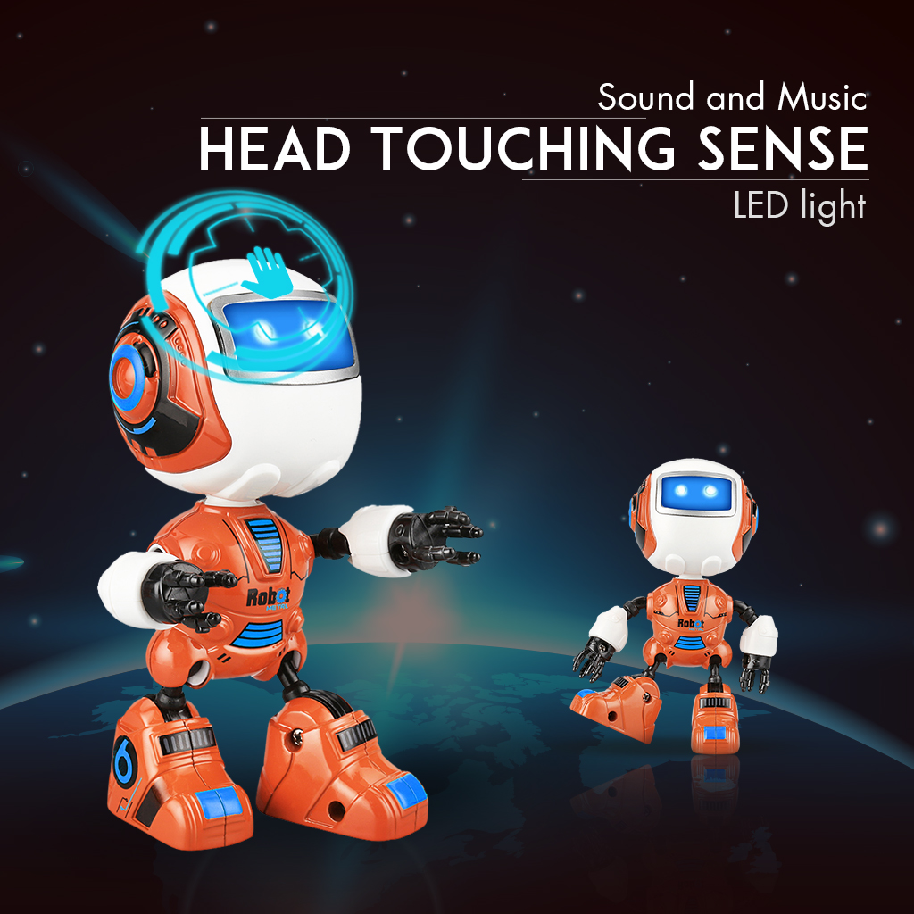 Robots Toys for Kids, Intelligent Multi-function Light Music Alloy Robot Toys with Smart Sensing Touch Induction for Kids
