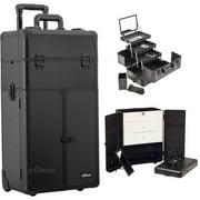Sunrise I3566PPAB Black Smooth Trolley Makeup Case - I3566