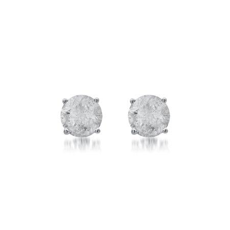 1/2 Carat T.W. Diamond Sterling Silver Stud Earrings.