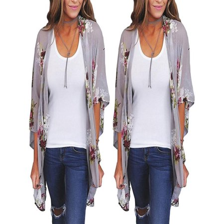Cheetah Print Cardigan - Mosunx Women Chiffon Loose Shawl Print Kimono Cardigan Top Cover Up Blouse Beachwear