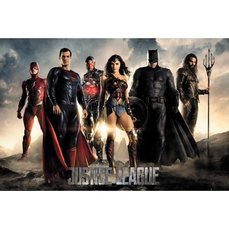 Justice League - DC Comics Movie Poster / Print (The Heroes - Superman, Batman, Wonder Woman, The Flash, Aquaman & Cyborg) - Batman Poster