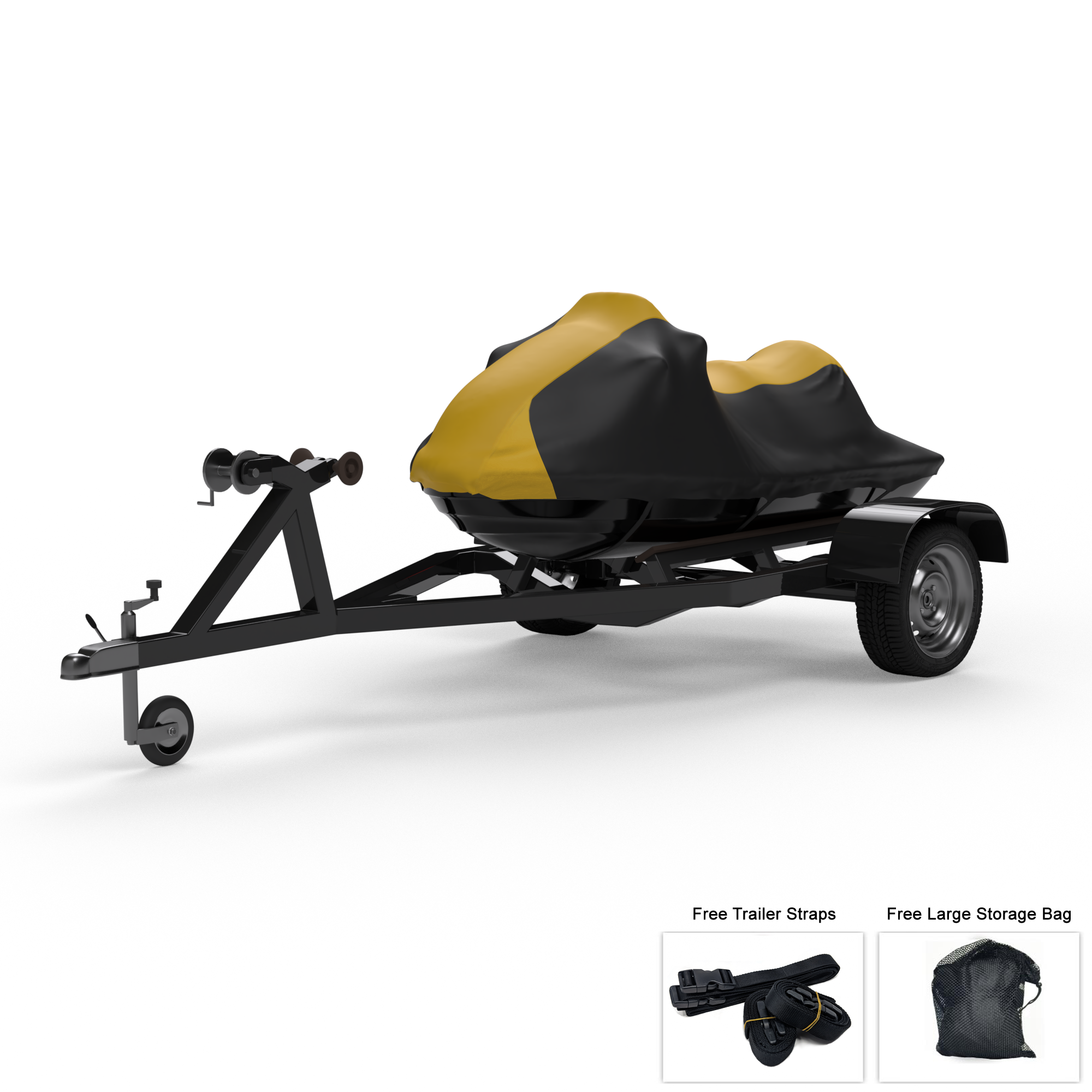 Weatherproof Jet Ski Cover For YAMAHA Wave Runner VX Cruiser HO 2015-2018 - GRAY / Black Color - All Weather - Trailerable - Protects from Rain, Sun, And More! Includes Trailer Straps And Storage Bag