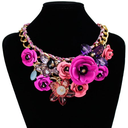 Floral Pendant Necklace Set (Women Flower Floral Statement Necklace Chunky Pendant )