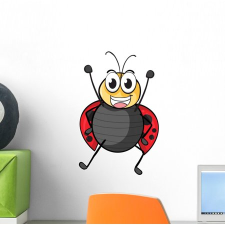 Ladybug Wall Decal by Wallmonkeys Peel and Stick Graphic (12 in H x 8 in W) WM17377 - Ladybug Wall Decals