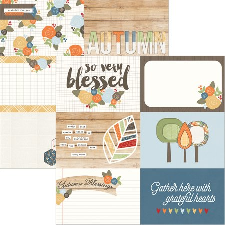 """Hello Fall Double-Sided Elements Cardstock 12""""X12""""-4""""X6"""" Horizontal Journaling Cards"""