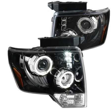 Spec-D Tuning For 2009-2014 Ford F150 Pickup Halo + Led [Jet Black] Projector Headlights (Left + Right) 2009 2010 2011 2012 2013
