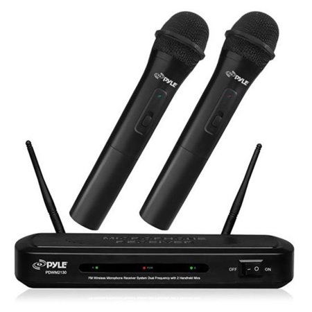 - Dual Frequency FM Wireless Microphone Receiver System with 2-Handheld Microphones