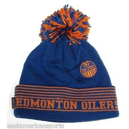 Edmonton Oilers NHL Reebok Blue Orange Logo Pom Ball Knit Hat Cap Winter (Reebok Edmonton Oilers Patch)