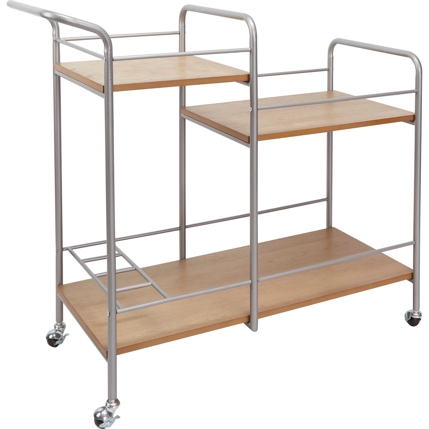 Better Homes & Gardens Cooper Split Metal & Wood Bar Cart, Silver Finish