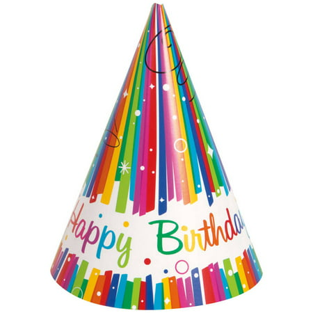 Rainbow Birthday Party Hats, 8ct - Plain Birthday Hats