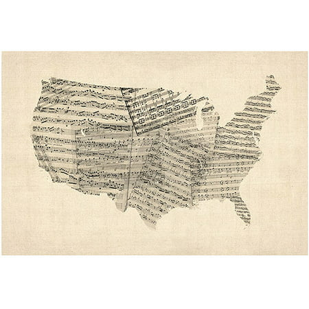 Trademark art usa old sheet music map canvas art by michael trademark art usa old sheet music map canvas art by michael tompsett publicscrutiny Choice Image