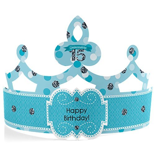 Quinceaera - Teal - Crown Happy Birthday Party Hats - 8 Count