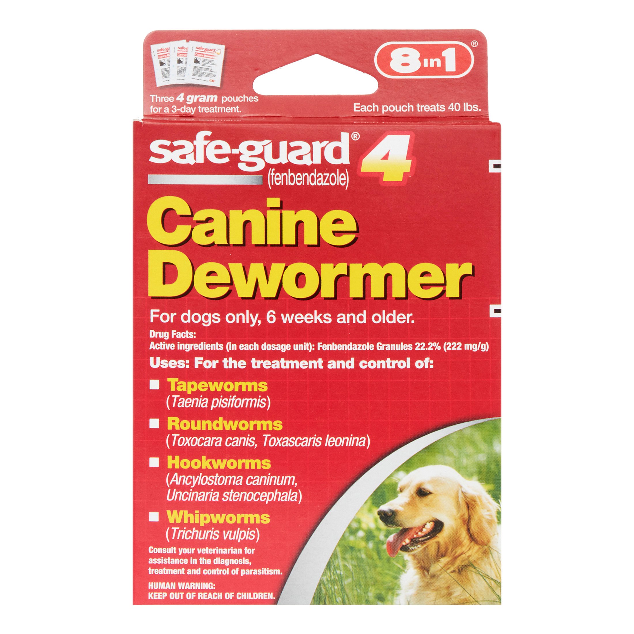 8in1 Safe-Guard Canine De-Wormer Large Dog Treatment, 3 Ct