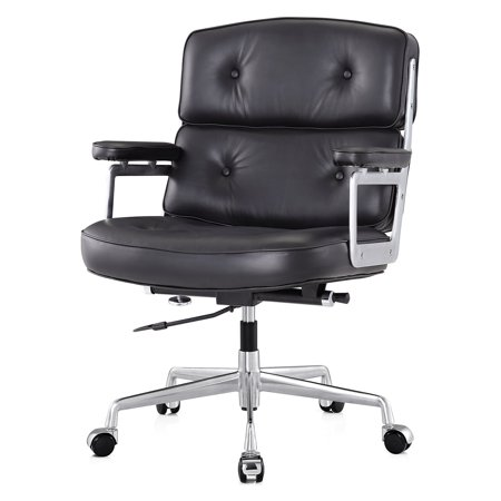 meelano m310 black aniline leather office chair walmart com