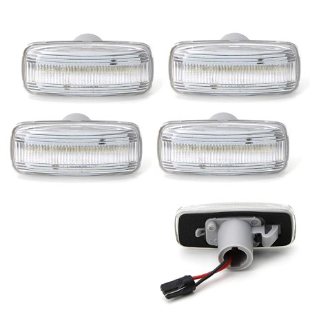 iJDMTOY Clear Lens Full LED Rear Bed Side Marker Lamps For 10-18 Dodge RAM 2500HD 3500HD Dually Double Wheel Side Fenders, (4) Side Marker Lenses For Front & Rear Fenders Powered By 48-SMD LED Bulbs ()
