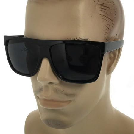 MENS Limo Large Black Flat Top Oversize Gangster Rectangular Shade Sunglasses (Large Sunglasses)