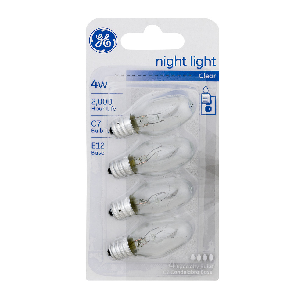 GE Night Light Bulbs Clear 4W 4 CT by GE Lighting