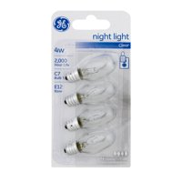 GE Incandescent 4W C7 Clear Night Light Replacement Bulbs, E12 Small Base, 4pk