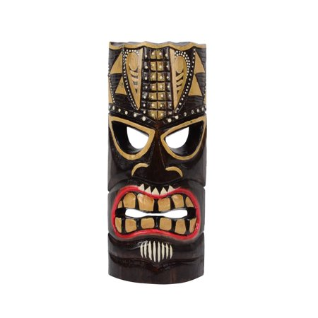 Wooden Tiki Bar - Tiki Head Protector Mask Wood Totem Statue Tropical Bar Patio Luau 3D Wall Decor