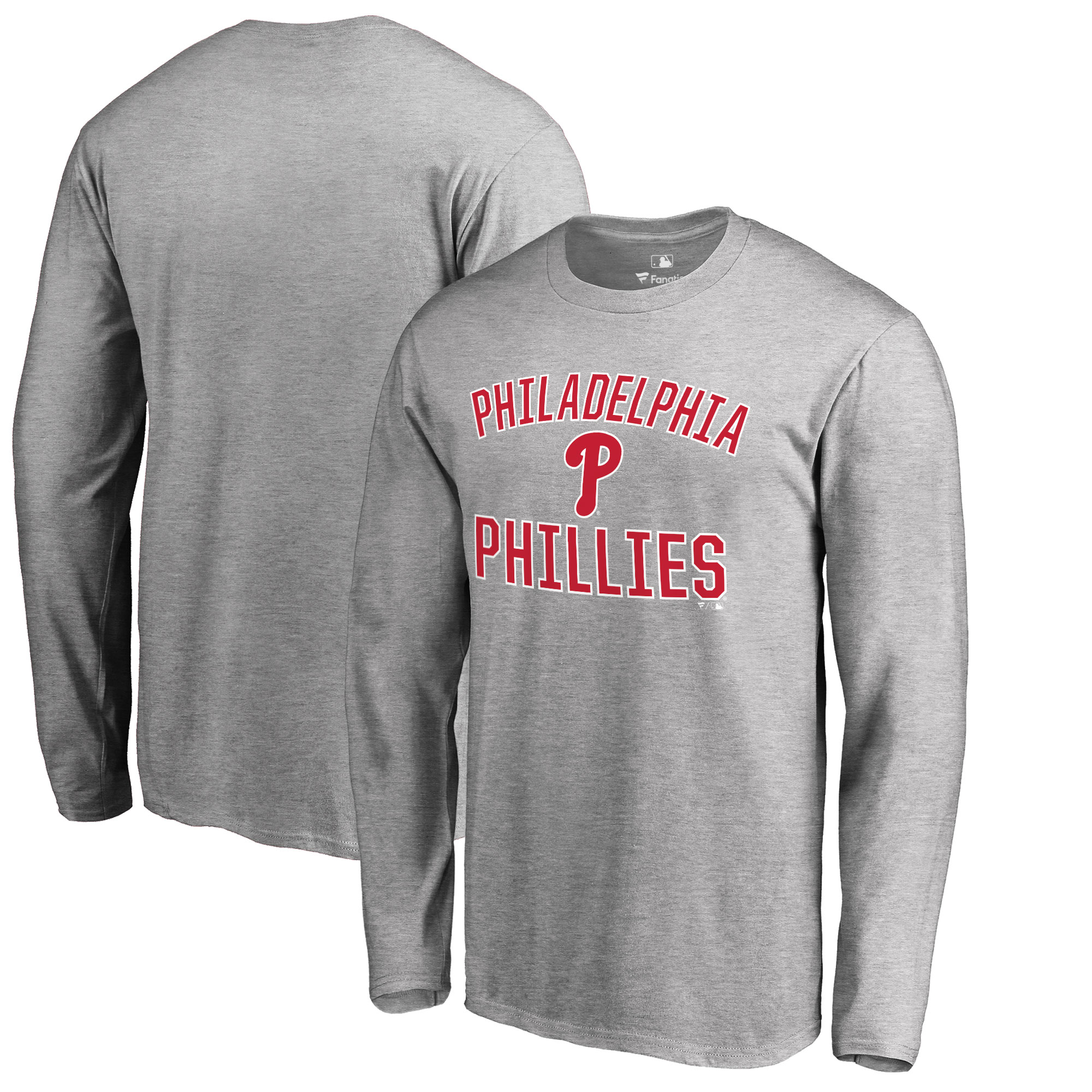 Philadelphia Phillies Big & Tall Victory Arch Long Sleeve T-Shirt - Ash