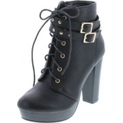 Top Moda Women's Cici-1 High Heel Lace Up Ankle Boots Platform Booties with Studs