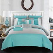 Moriarty 10 Piece Comforter Set Color Block Ruffled Bed in a Bag Decorative Pillows Shams Turquoise