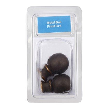 2pcs Brown Metal Ball Lamp Shade Finial Decoration Accessories 37.5mm x 24.5mm - image 3 de 4