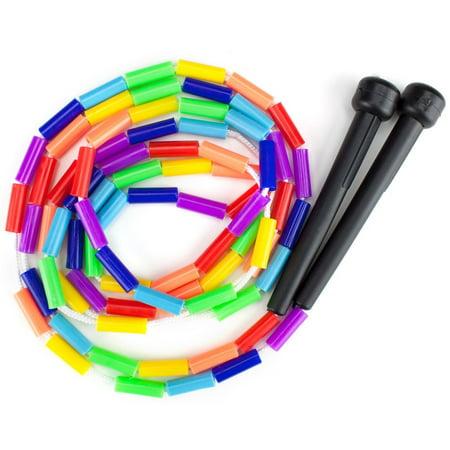 K-Roo Sports Rainbow 7-Feet Jump Rope with Plastic Beaded Segmentation, 7' durable nylon jump rope with shatterproof 15/16 plastic segments By KRoo Sports](Jump Rope For Sale)