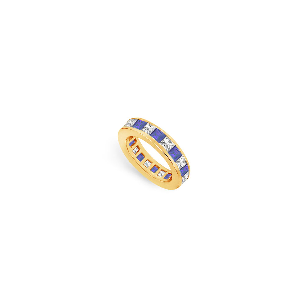 Cubic Zirconia and Blue Created Sapphire Eternity Band Yellow Gold Vermeil 3.00 CT TGW - image 2 of 2