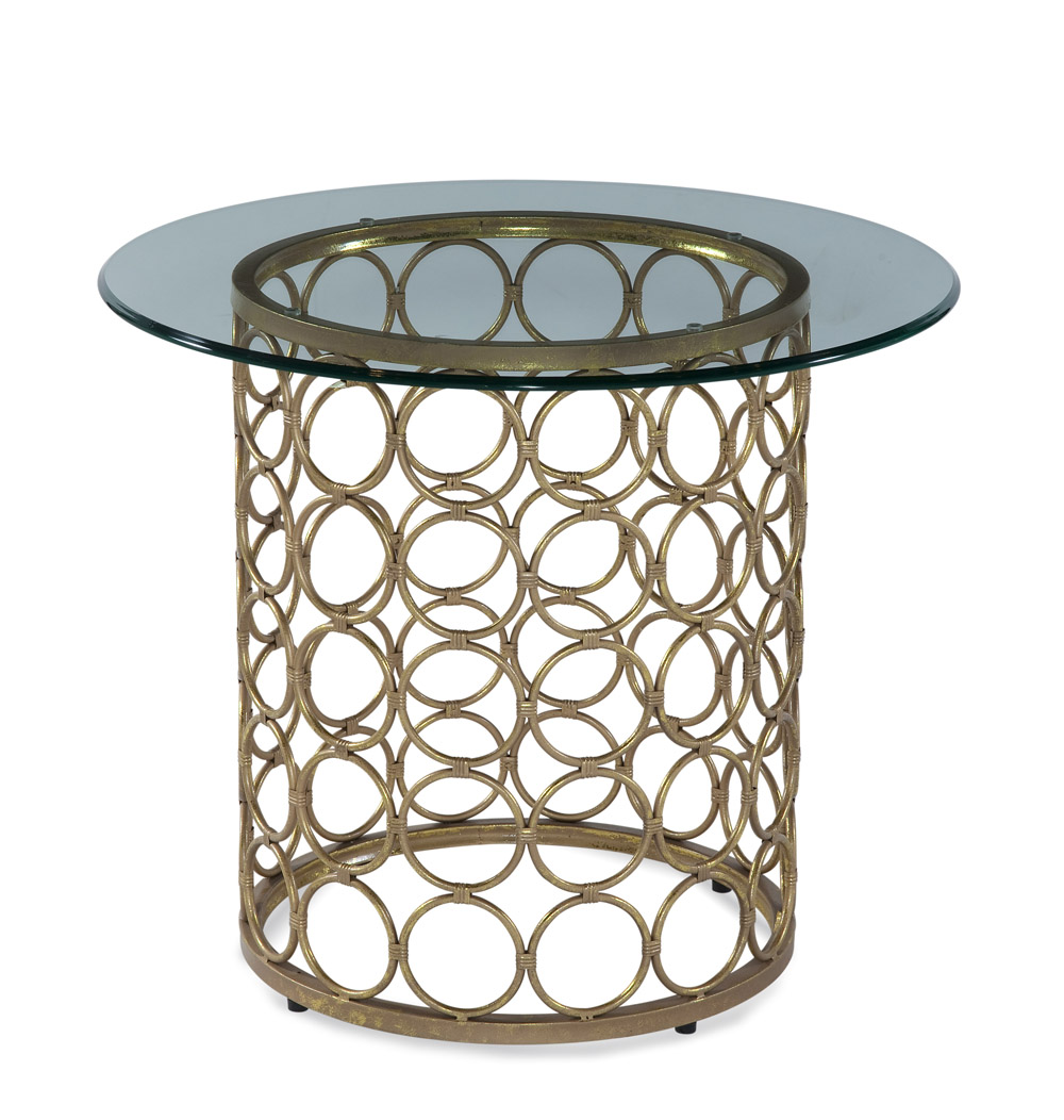 Bassett Carnaby Round End Table in Lux Gold & Goldleaf by
