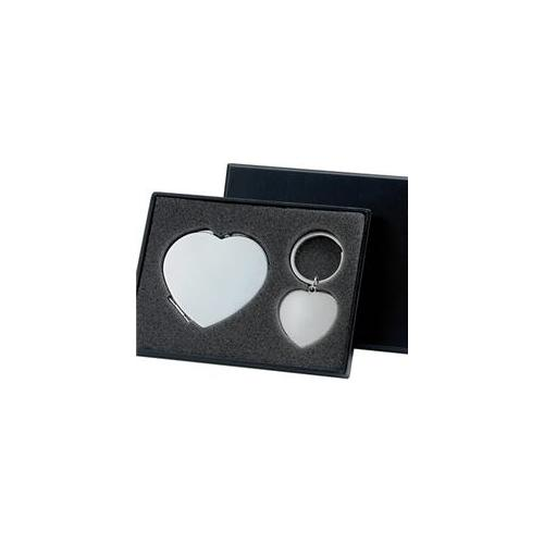 Aeropen International GMK-40S Silver Heart Shape Compact Mirror and Key Chain Gift Set