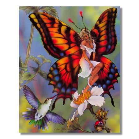Fairy Fantasy Canvas Art - Butterfly Fairy Flying with Hummingbird Fantasy #2 Wall Picture 8x10 Art Print