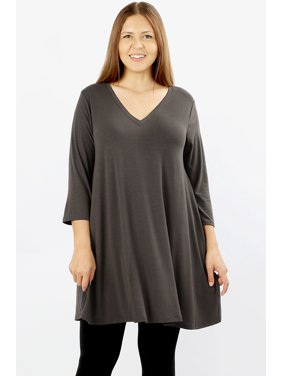 488c83157 Product Image JED FASHION Women's Plus Size Longline V-Neck Tunic Top with  Pockets
