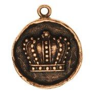 Nunn Design Charm, 20x24.5mm Crown In Circle Bezel, 1 Piece, Antiqued Copper