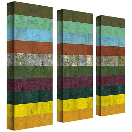 "Trademark Art ""Wooden Abstract III"" Three Canvas Wall Art by Michelle Calkins, 8x24"