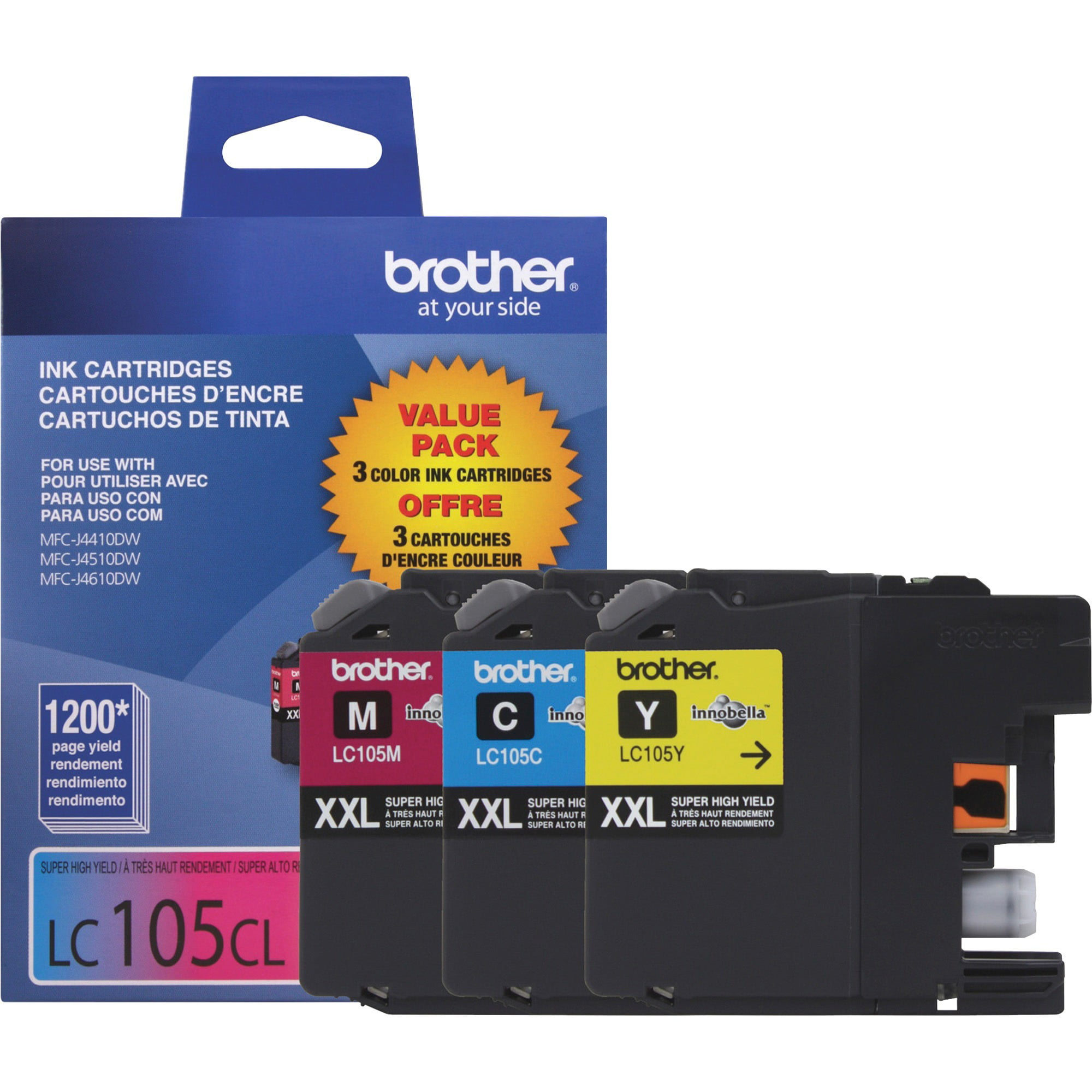 Brother LC105-3PKS Combo Pack Ink Extra High Yield 3x 1,200 Yield C//M//Y