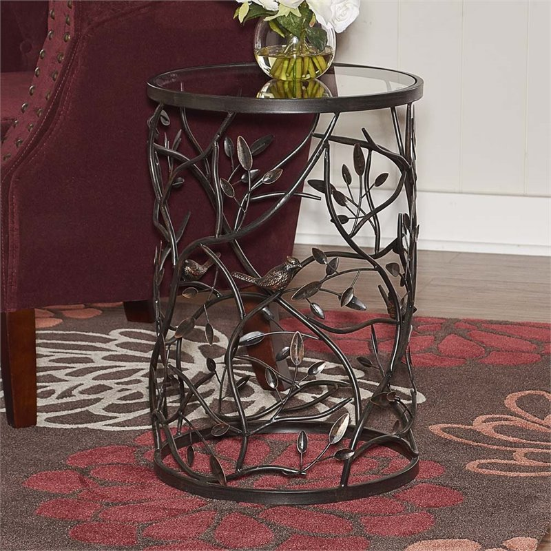 Linon Bird and Branch Accent Table, 22 inches, Fully Assembled