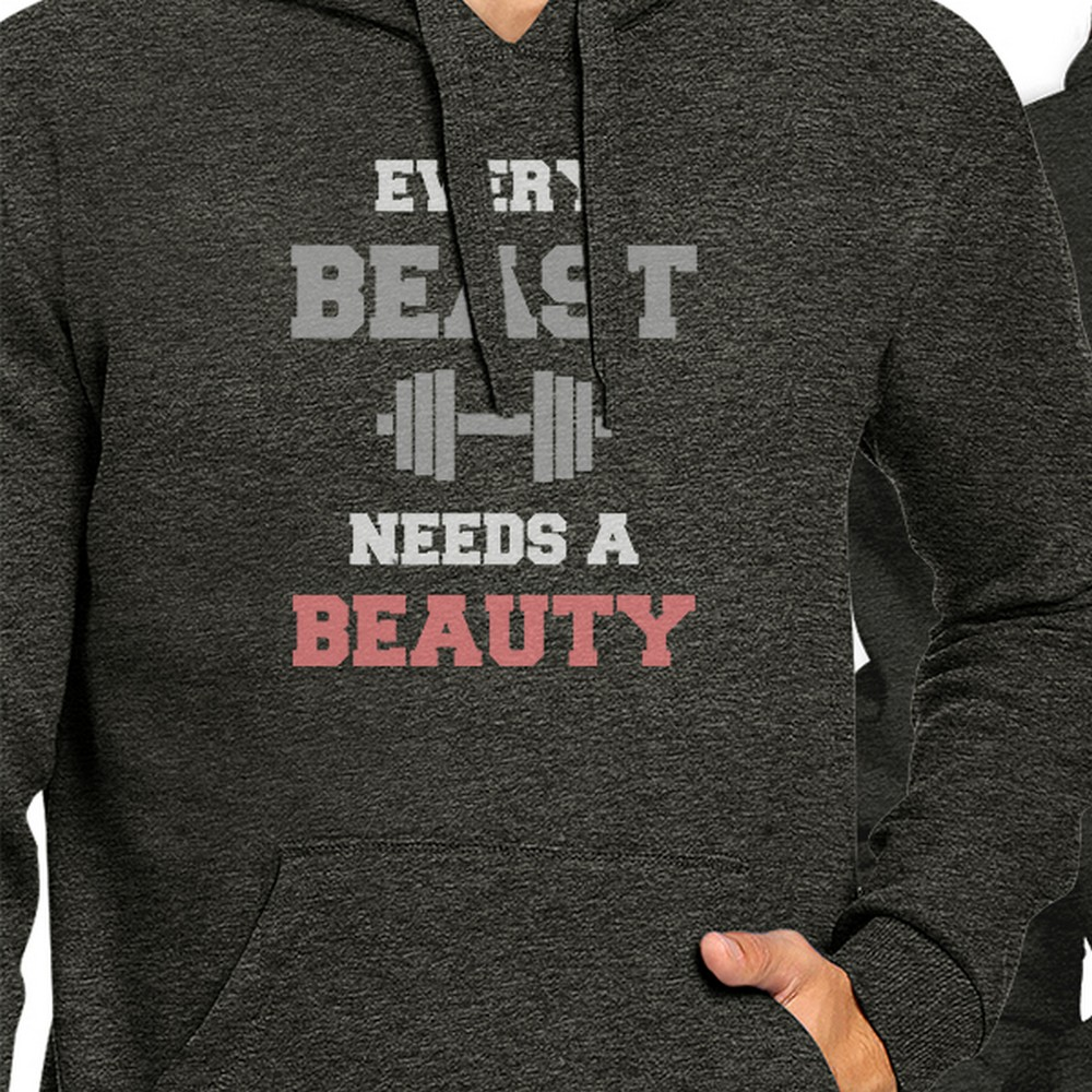365 Printing Every Beast Beauty Cool Grey Matching Hoodies Pullover Crewneck Left- 2XL // Right- L