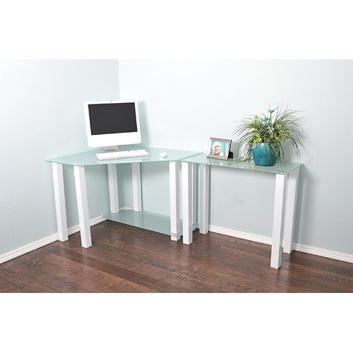 White Lines by RTA Frosted Tempered Glass Gloss White Corner Computer Desk with Modular Right Extension Table