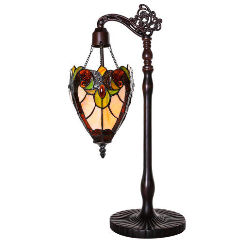 River of Goods Halston Tiffany Style Stained Glass Sidearm Pendant  22.75'' H Table Lamp
