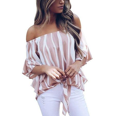 cc432c040e73e Vista - Women s Striped Off Shoulder Bell Sleeve Shirt Tie Knot Casual Blouses  Tops - Walmart.com