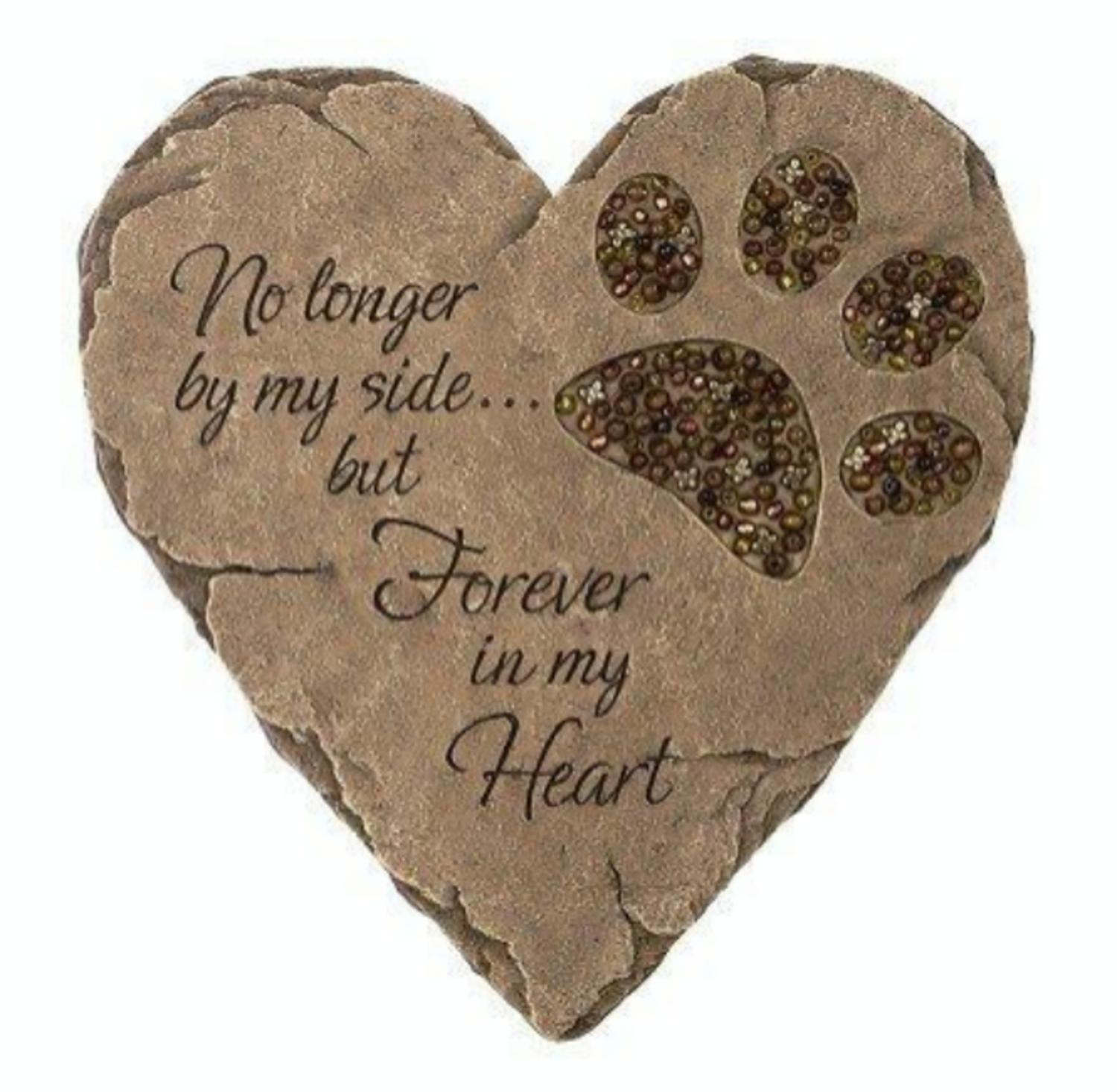 "9.75"" Heart Shaped Pet Paw Print Bereavement Memorial Beadwork Garden Patio Stone"