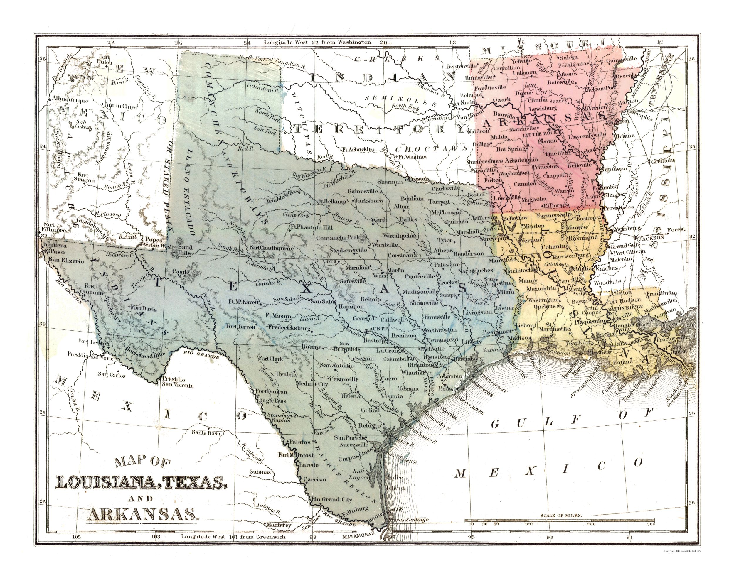 Louisiana Texas Map Louisiana, Texas, Arkansas   Mitchell 1869   29.19 x 23   Walmart